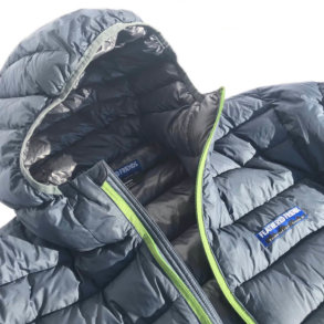 This photo shows a close up of the Feathered Friends Eos Down Jacket.