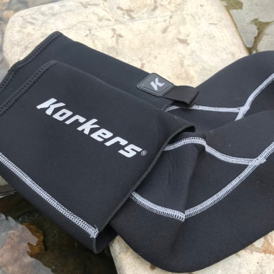 This photo shows the Korkers I-Drain Neoprene Guard Socks.