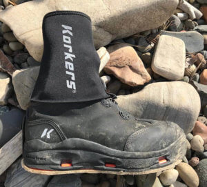 This Korkers I-Drain Neoprene Guard Sock review photo shows the wading socks with a Korkers wading boot.