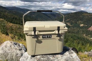 This photo shows the YETI Roadie 20 cooler outside.