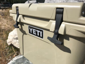 This photo shows the YETI Roadie 20 cooler front latches.