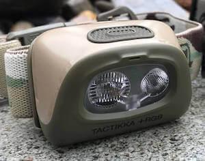 This bowhunting gift idea photo shows the Petzl Tactikka RBG+ hunting headlamp.