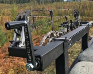 This bowhunting gift photo shows the Last Chance Archery PACK-N-GO Portable Bow Press.