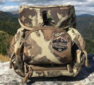 This bowhunting gift idea photo shows the Alaska Guide Creations Classic Max Binocular Chest Pack.