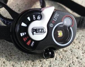 This photo shows a closeup of the Petzl e+LITE Emergency Headlamp.