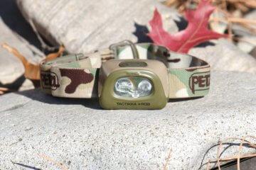 This photo shows the Petzl Tactikka + RGB Headlamp.