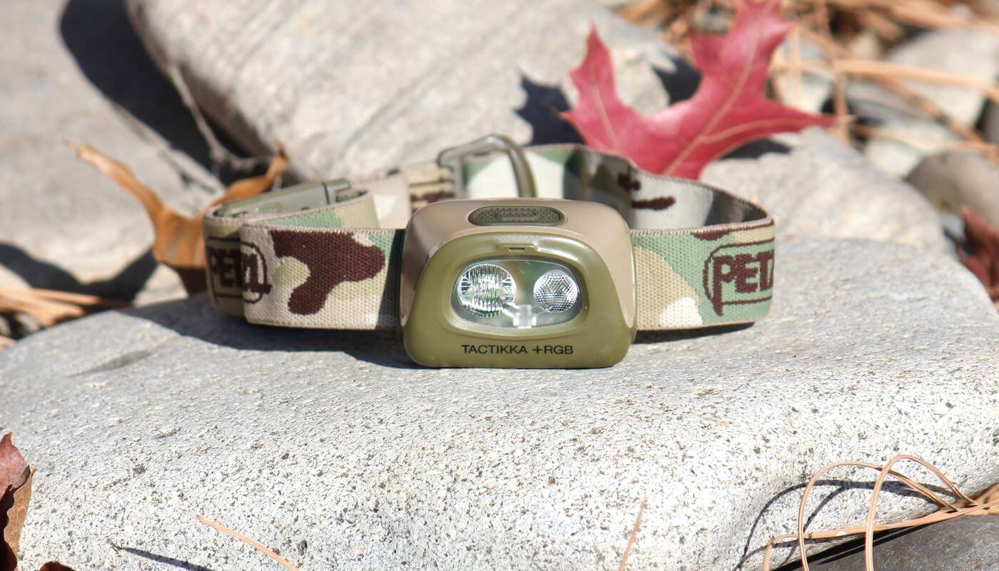 This photo shows the Petzl Tactikka + RGB Headlamp.