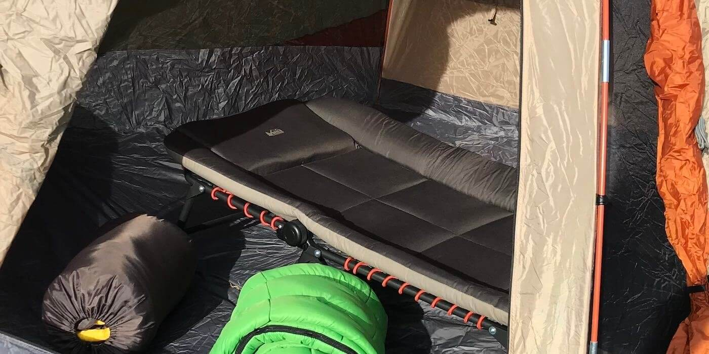 This photo shows the REI Co-op Kingdom Cot 3 camping cot.