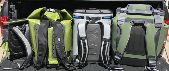 This image shows the Coleman Maverick Ultra Backpack Cooler, ICEMULE Pro Backpack Cooler, YETI Hopper BackFlip 24 Backpack Cooler, and OtterBox Trooper LT 30 Backpack Cooler all in row.