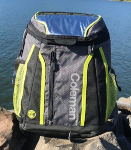 This image shows the front of the Coleman Maverick Ultra Backpack Cooler.