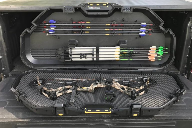 This photo shows the Plano All Weather Bow Case with a compound bow inside.