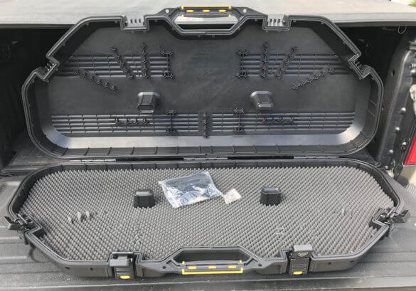 This photo shows the inside of the Plano All Weather Bow Case.