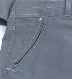 This photo shows the kuhl destroyr pants pockets and zipper.