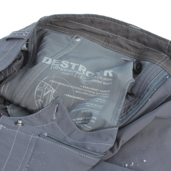 This photo shows the kuhl destroyr pants in a closeup.