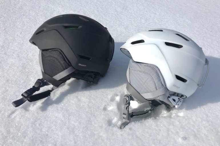 This photo shows the Smith Mission and Mirage Snow Helmets for skiing and snowboarding.