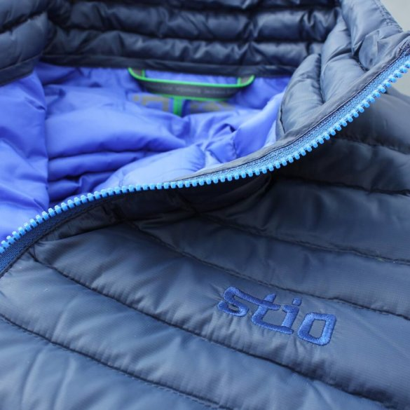 This photo shows a closeup of the collar of the Stio Pinion Down Sweater jacket.