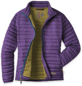 This photo shows the women's version of the Stio Pinion Down Sweater jacket.