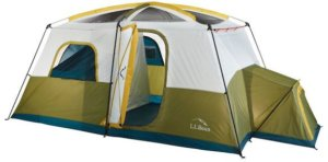 This camping tent photo shows the L.L.Bean Acadia 8-Person Cabin Tent.