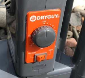This photo shows a close of the controls on the DryGuy Force DX Boot Dryer.