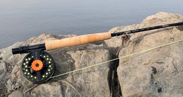 This photo shows the Cabela's Rogue fly rod on a rock near a river.