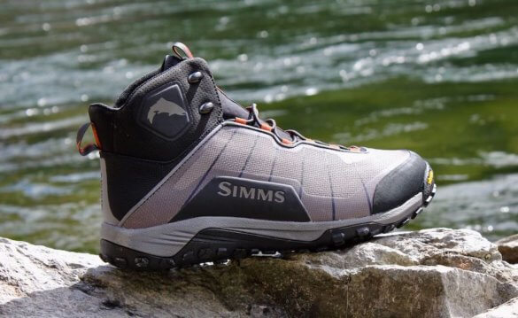This best wading boot guide photo shows the Simms Flyweight Wading Boots.