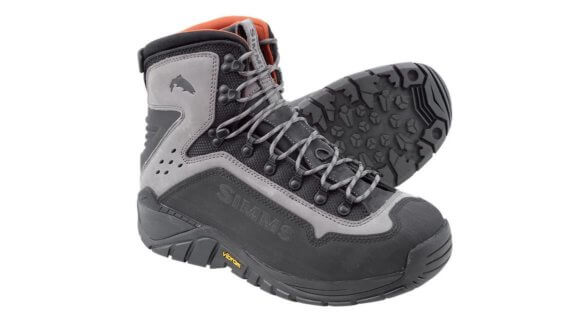 This wading boot photo shows the Simms G3 Guide Boot, which is one of best durable wading boots for fishing.