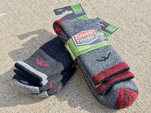 This photo shows two pairs of Darn Tough Vermont hiking socks.
