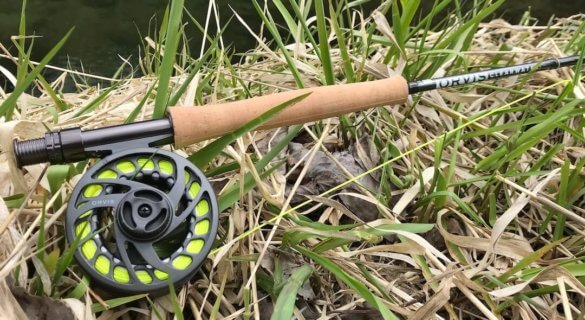 This photo shows the 9-foot, 5-weight Orvis Clearwater fly rod and Clearwater II Reel on a river bank.
