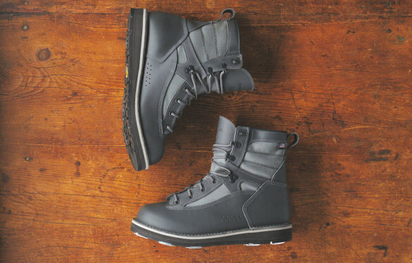 This wading boots photo shows the Patagonia Foot Tractor Wading Boots by Danner.