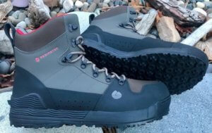 This best wading boot photo shows the Redington Prowler wading boots on river rock.