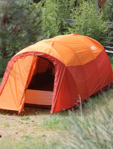 This photo shows the REI Co-op Kingdom 8 Tent setup for camping.