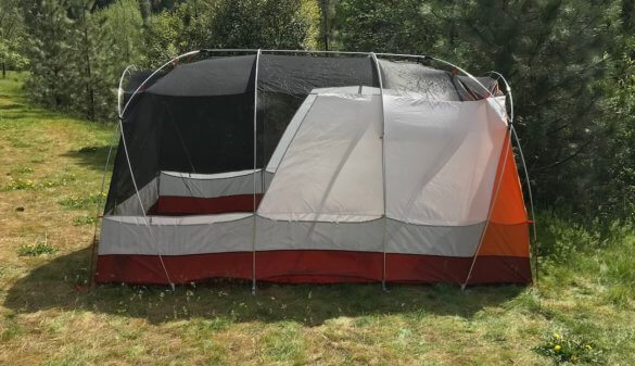 This photo shows the REI Co-op Kingdom 8 Tent without the rainfly.