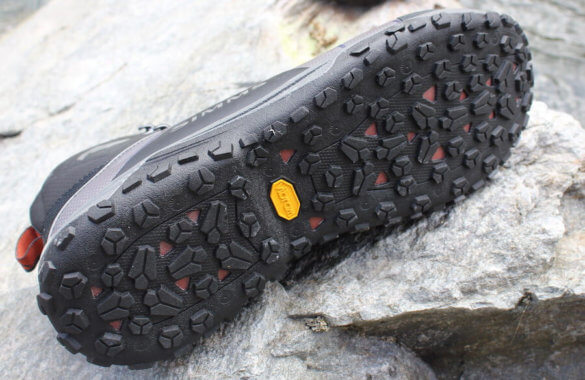 This review photo shows the sole of the Simms Flyweight Wading Boots.