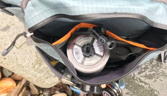 This photo shows the front pocket on the Umpqua Tongass 650 Waterproof Waist Pack.