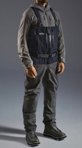 This best fishing waders photo shows a man wearing the Patagonia Swiftcurrent Expedition Zip-Front Waders.