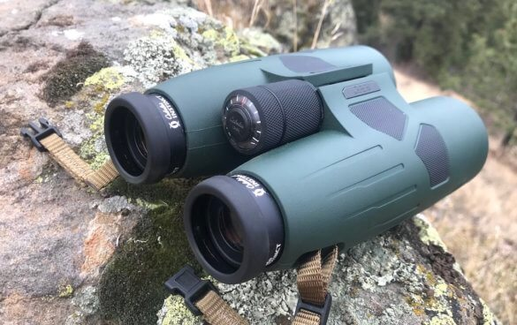 This photo shows a closeup of the Cabela's Instinct Euro HD 12x50 binoculars.