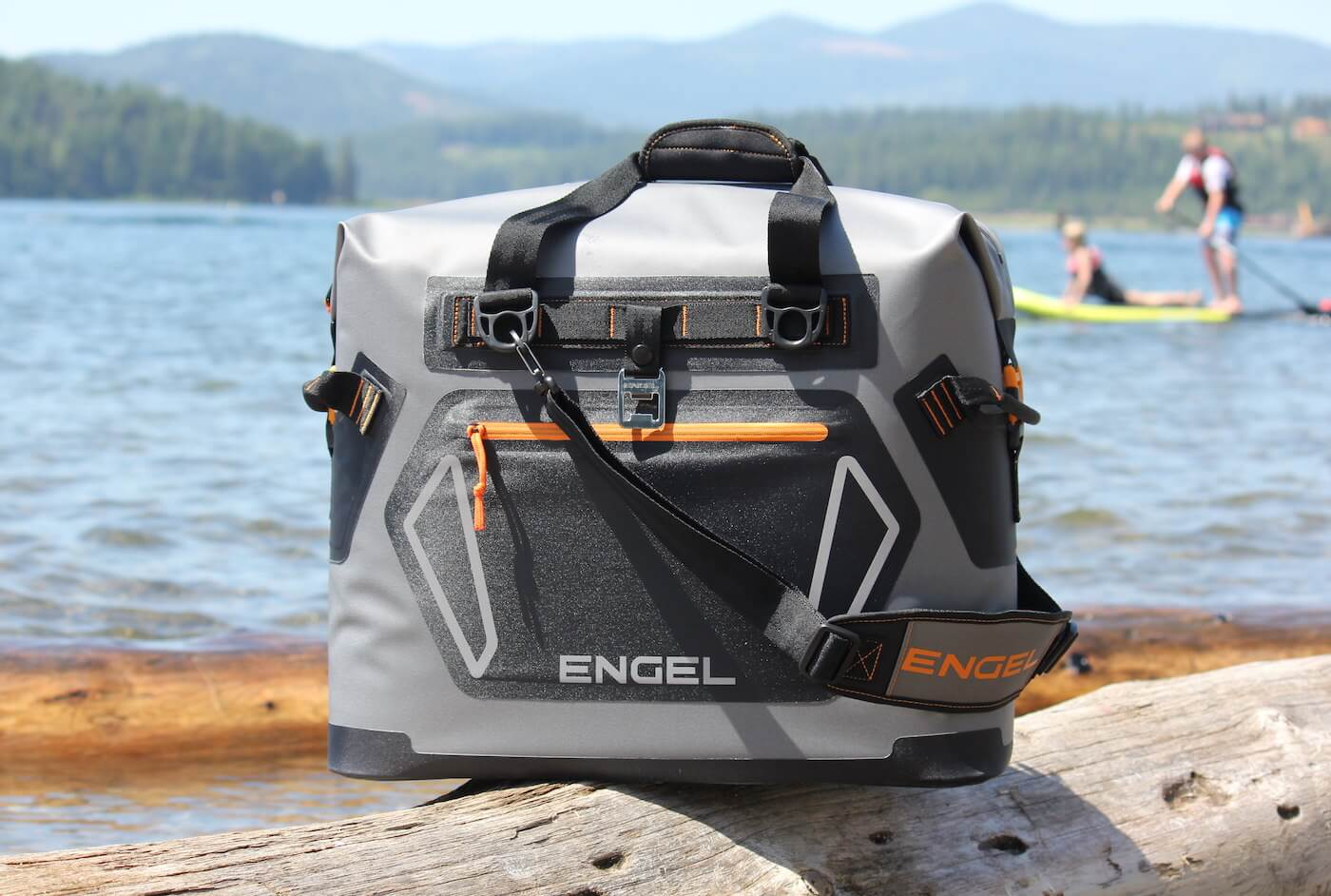 This photo shows the Engel HD30 cooler near a lake.