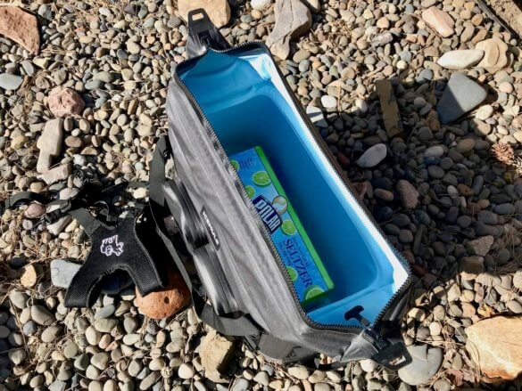 This photo shows the ICEMULE Traveler cooler with the opening open.
