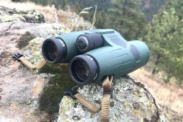This review photo shows the Cabela's Instinct Euro HD binoculars outdoors.