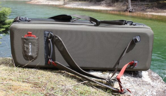 This review photo shows the backpack straps on the Simms Bounty Hunter Vault Duffel.