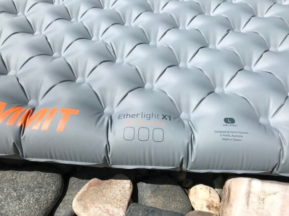 This review photo shows a closeup of the Air Sprung cell construction of the Sea to Summit Ether Light XT Insulated Air Sleeping Mat.