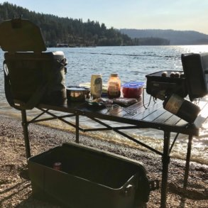 This photo shows the Mountain Summit Gear Heavy-Duty Roll-Top XL Table outside.