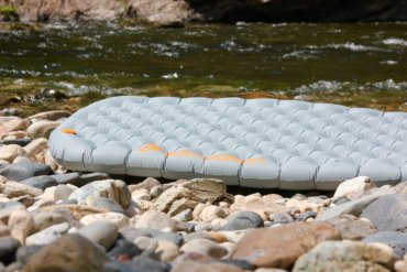 This review photo shows a fully inflated Sea to Summit Ether Light XT Insulated Air Sleeping Mat outside.
