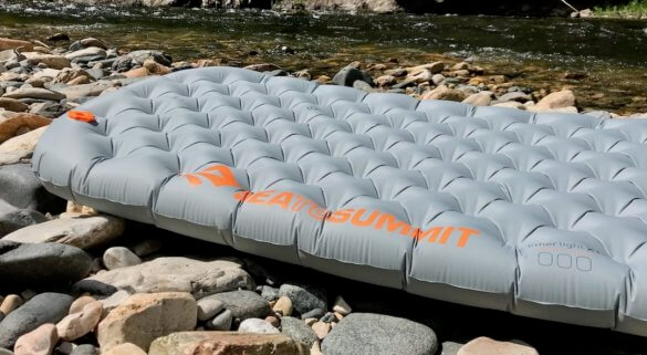 This review photo shows the Sea to Summit Ether Light XT Insulated Air Sleeping Mat inflated close up.