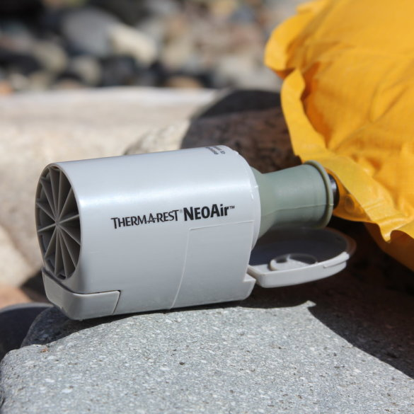 This photo shows the Therm-a-Rest NeoAir Mini Pump as it blows up a Therm-a-Rest NeoAir Xlite air mattress.