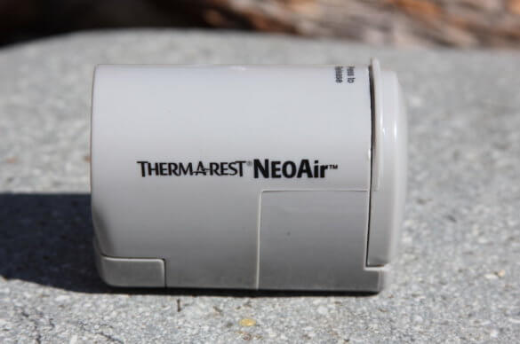This review photo shows a closeup of the Therm-a-Rest NeoAir Mini Pump.