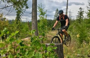 This photo shows the author riding the REI Co-op Cycles DRT 1.2 mountain bike on a mountain biking trail in the forest.