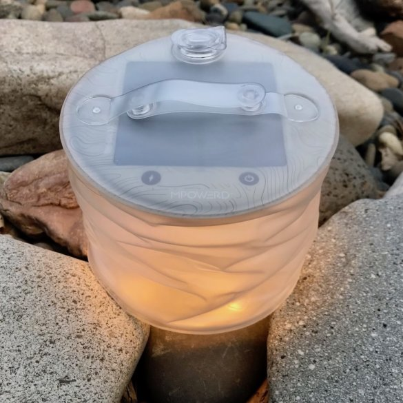 This photo shows the MPOWERD Luci Pro Series lantern on outside.