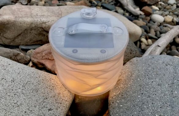 This photo shows the MPOWERD Luci Pro Series solar light matte version lit up.