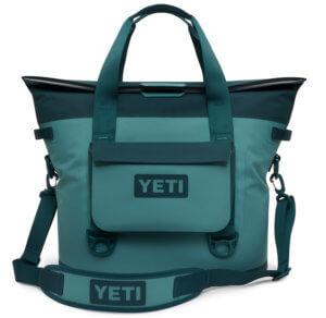 This photo shows the River Green version of the YETI Hopper M30 with the YETI SideKick Dry case attached.
